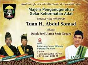 Besok, Ustaz Abdul Somad akan Terima Gelar Adat Seri Ulama Setia Negara dari LAMR