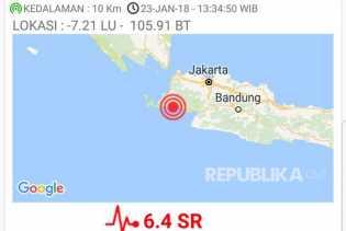 Jelang Jum'at, Gempa 5,2 SR Mengguncang Sukabumi