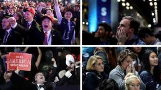 Pendukung Hillary Clinton Menangis dan Pendukung Donald Trump Merayakan