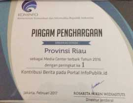 Diskominfo Riau Juara Pengelolaan Media Center se-Indonesia