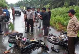 2 Sepeda Motor 'Laga Kambing' di Rohil, 1 Tewas Ditempat dan Seorang Lainnya Kritis