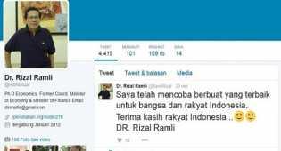 Dicopot dari menteri, Rizal Ramli & Sudirman Said pamitan di Twitter