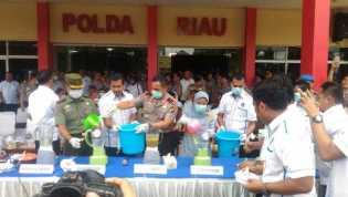 40Kg Sabu, 163.000 Ekstasi Serta 12Kg Ganja Dimusnahkan Polda Riau