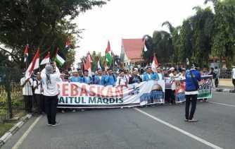 KNRP Lakukan Aksi Damai 115 untuk Kemerdekaan Palestina di Tugu Zapin Pekanbaru