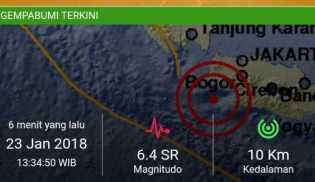 Guncang Jakarta, Gempa 6,4 SR Terjadi di Lebak Banten