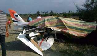 Pesawat Pribadi Gubernur Aceh Mendarat Darurat di Pantai