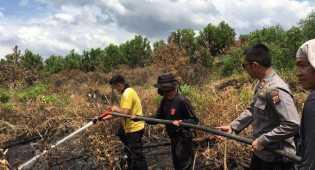 Melakukan Pemadaman Empat Hektar Lahan Terbakar Di Kecamatan Tampan