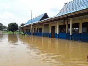 Terendam Banjir, SD Muara Sako di Pelalawan Diliburkan