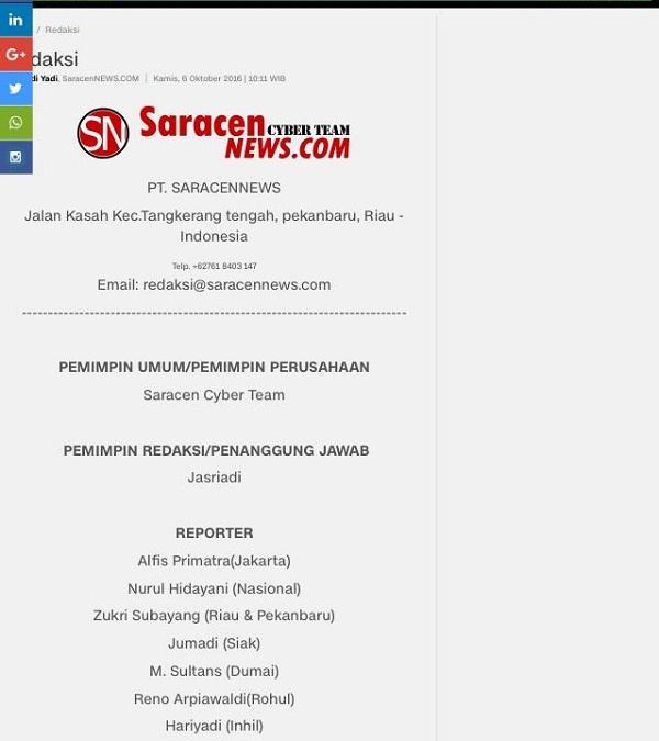 Tak Kenal dengan Saracen, Wartawan di Inhil Kaget Namanya Tercantum dalam Susunan Redaksi