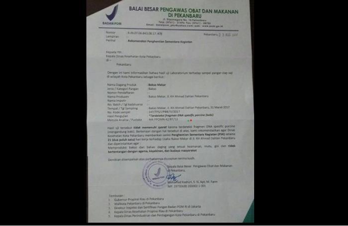 Heboh, Bakso Mekar Jalan Ahmad Dahlan Pekanbaru Positif Mengandung Babi